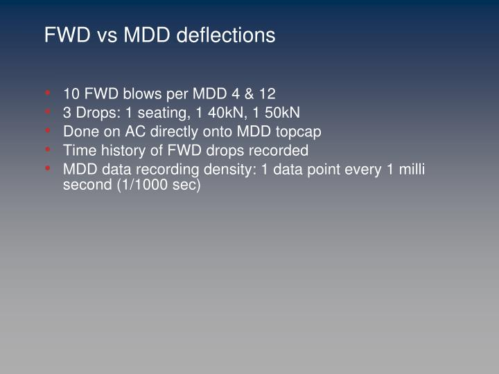 FWD vs MDD deflections