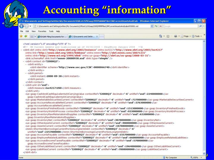 """Accounting """"information"""""""