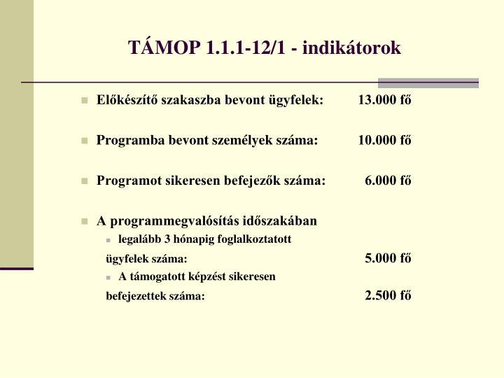 TÁMOP 1.1.1-12/1 - indikátorok