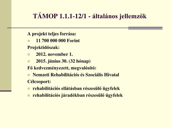 TÁMOP 1.1.1-12/1 - általános jellemzők