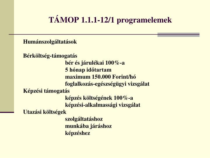 TÁMOP 1.1.1-12/1 programelemek