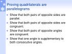 proving quadrilaterals are parallelograms