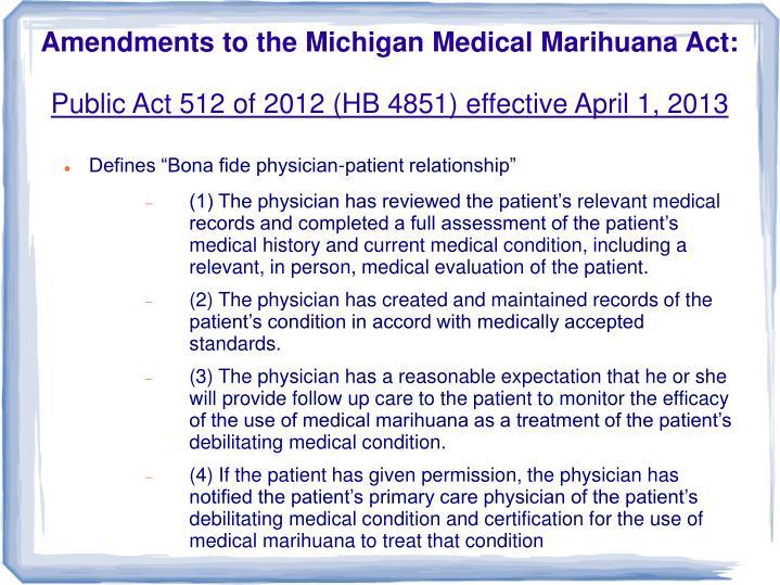Amendments to the Michigan Medical Marihuana Act: