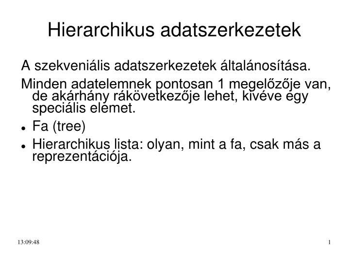 hierarchikus adatszerkezetek n.