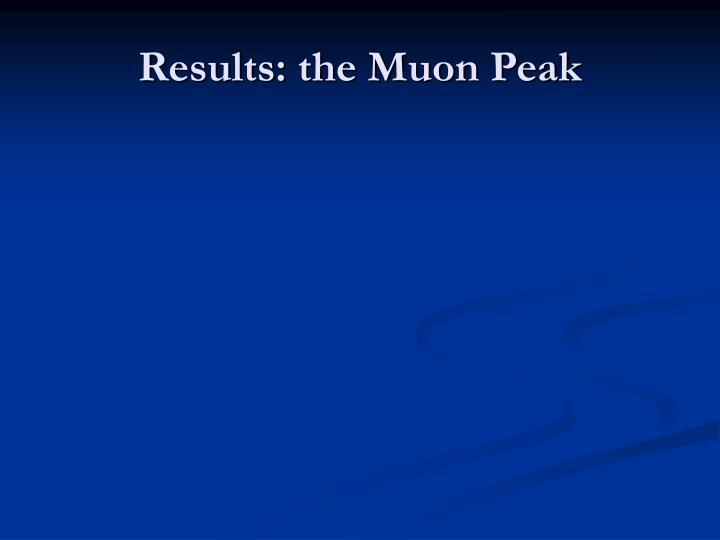 Results: the Muon Peak