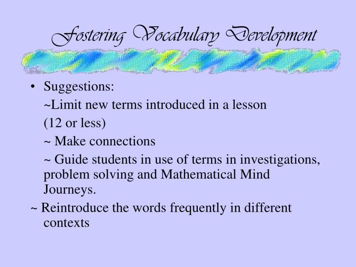 Fostering Vocabulary Development