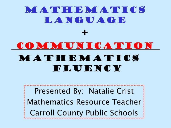 Mathematics language communication