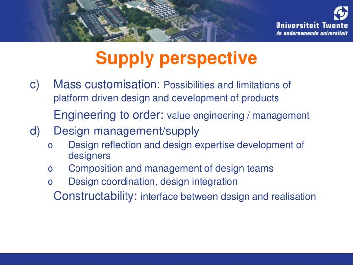 Supply perspective