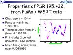 properties of psr 1951 32 from puma wsrt data