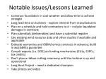 notable issues lessons learned1