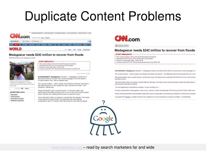 Duplicate Content Problems