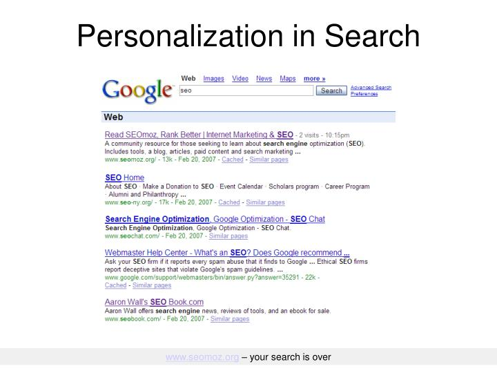 Personalization in Search