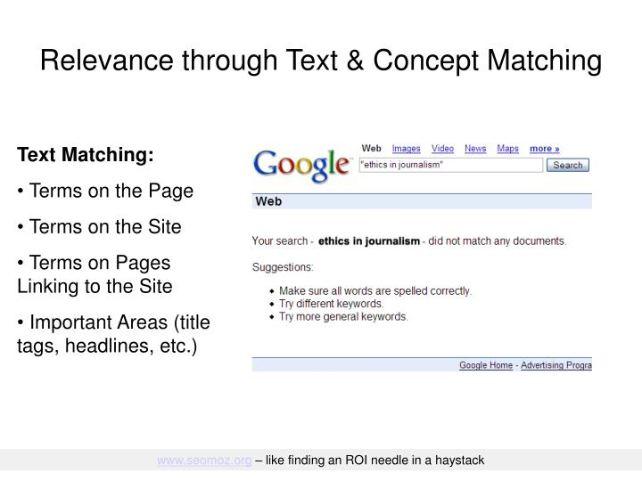 Relevance through text concept matching