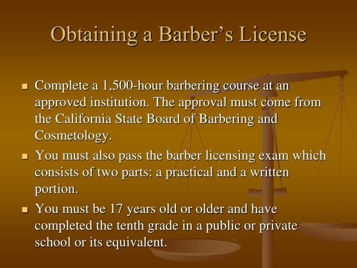 Obtaining a Barber's License