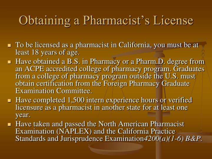 Obtaining a Pharmacist's License