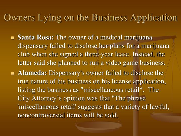 Owners Lying on the Business Application
