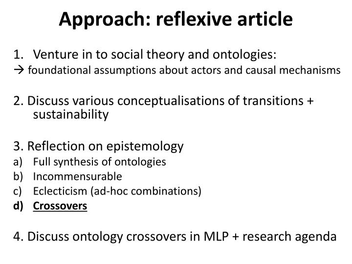 Approach: reflexive article