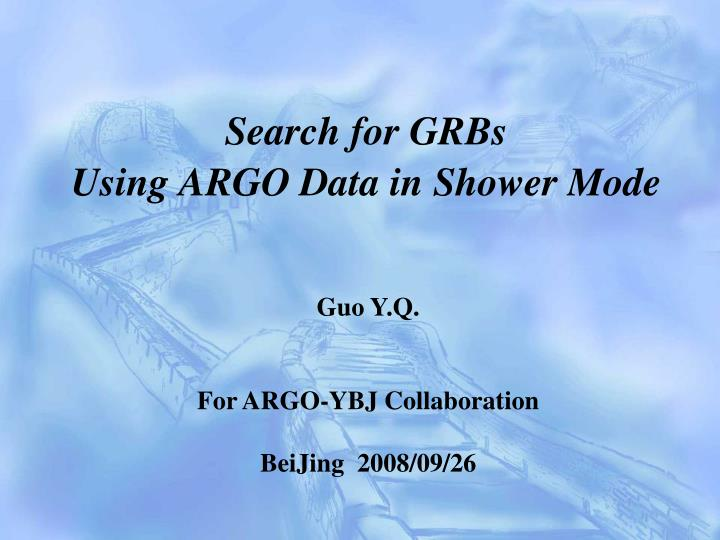 search for grbs using argo data in shower mode n.
