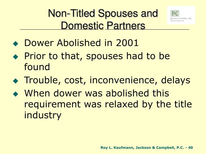 Non-Titled Spouses and