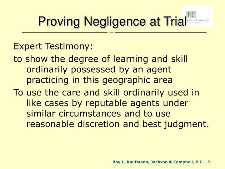Proving Negligence at Trial