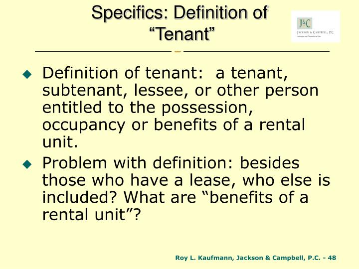 Specifics: Definition of