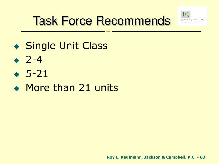 Task Force Recommends