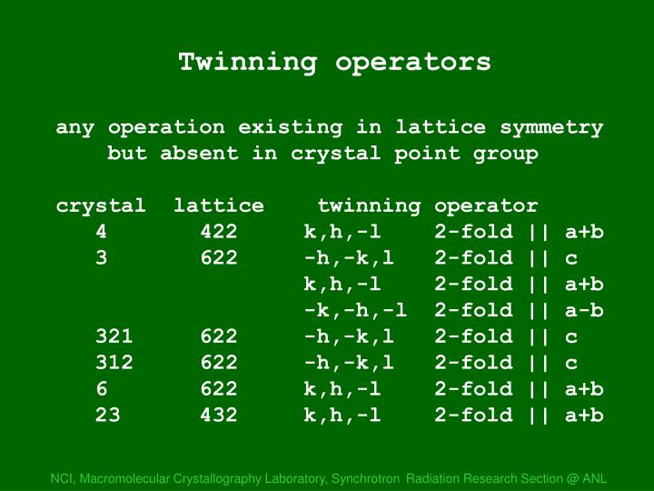 Twinning operations
