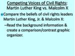 competing voices of civil rights martin luther king vs malcolm x