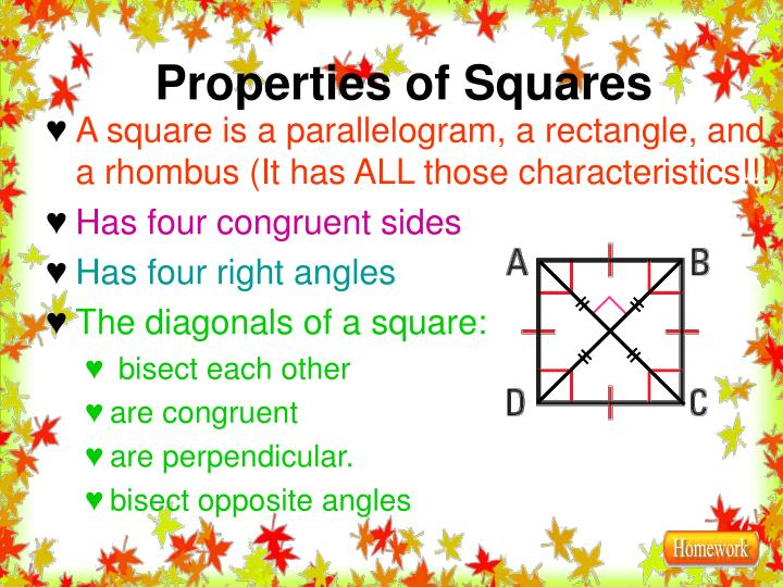 A square is a parallelogram, a rectangle, and a rhombus (It has ALL those characteristics!!!)