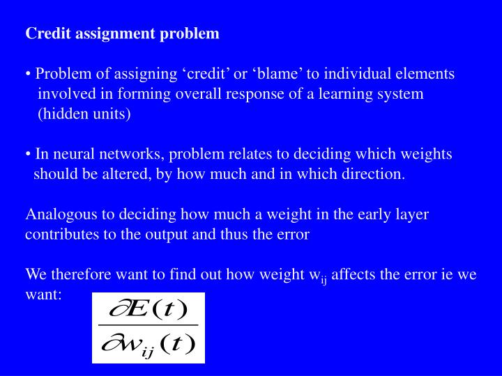 Credit assignment problem