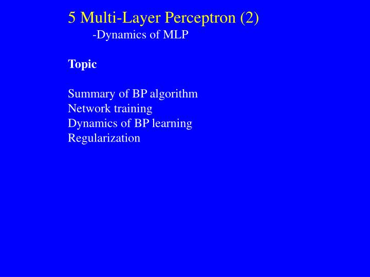 5 Multi-Layer Perceptron (2)