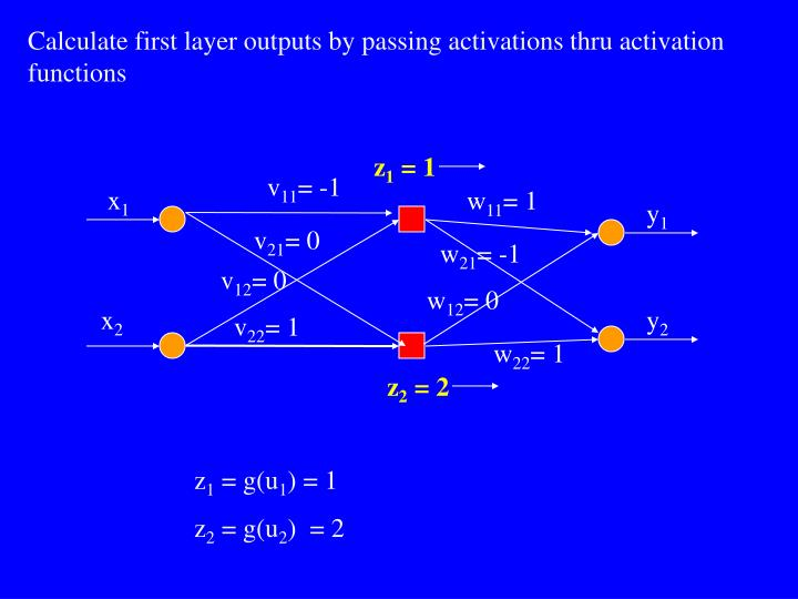 Calculate first layer outputs by passing activations thru activation functions