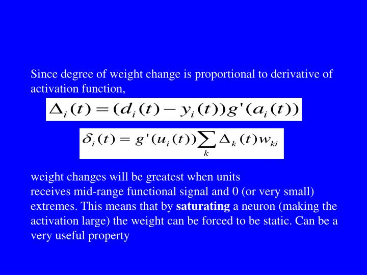 Since degree of weight change is proportional to derivative of