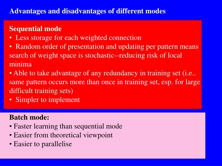 Advantages and disadvantages of different modes
