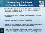 accounting for sale leaseback transactions