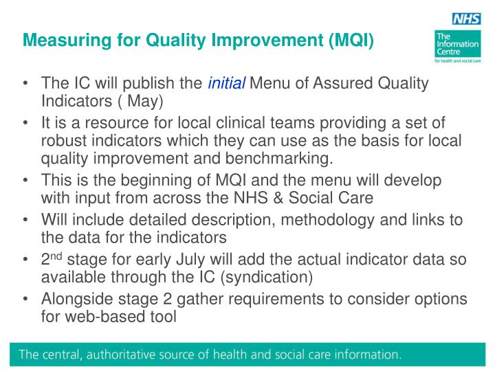 measuring for quality improvement mqi n.