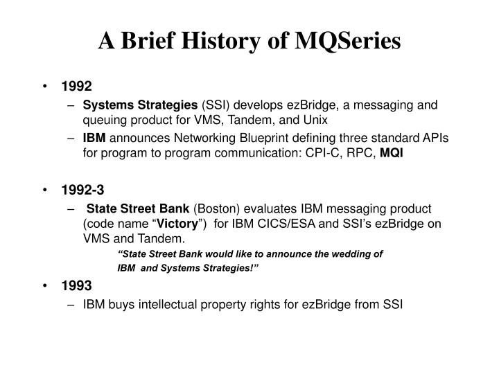 A Brief History of MQSeries