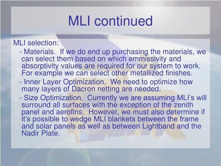 MLI continued