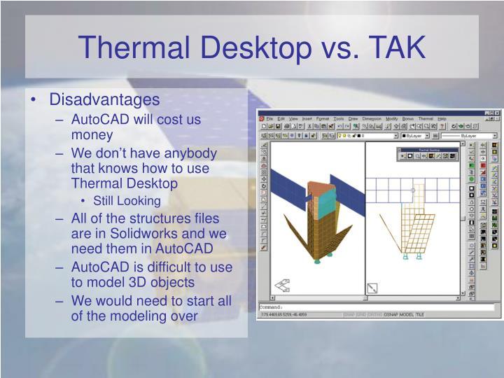 Thermal Desktop vs. TAK