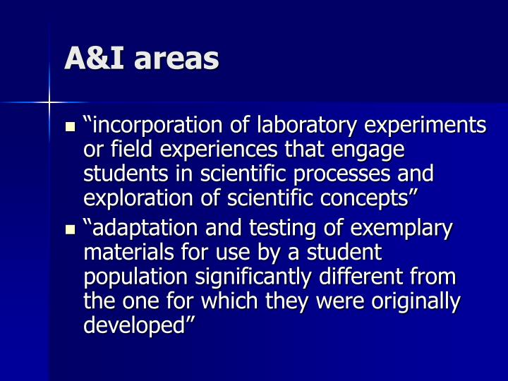 A&I areas