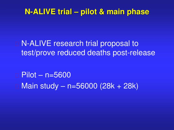 N-ALIVE trial – pilot & main phase