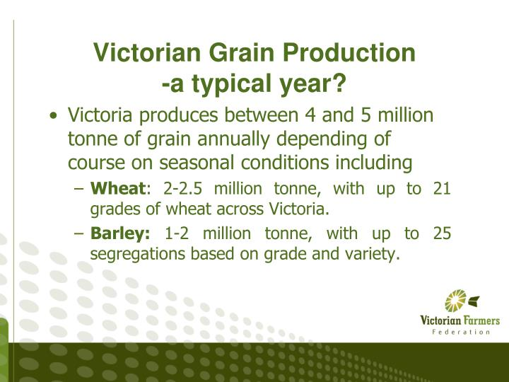 Victorian grain production a typical year