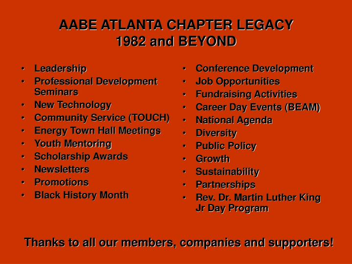 Aabe atlanta chapter legacy 1982 and beyond