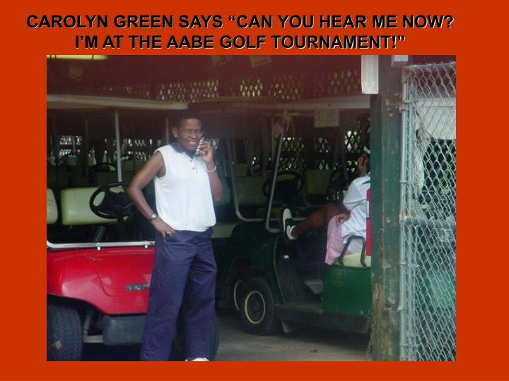 "CAROLYN GREEN SAYS ""CAN YOU HEAR ME NOW?"