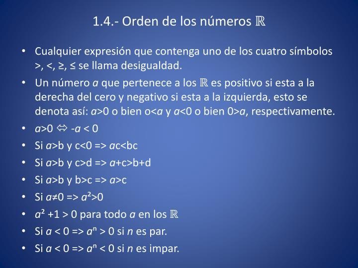 1.4.- Orden de los números