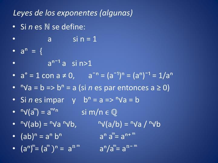 Leyes de los exponentes (algunas)