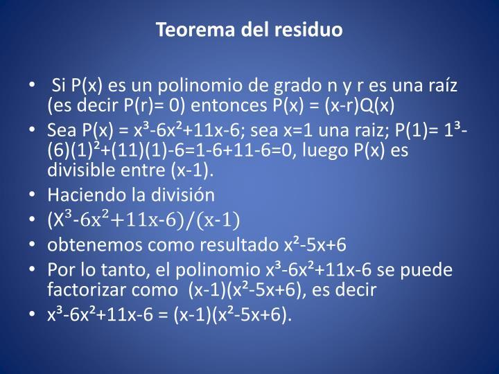Teorema del residuo