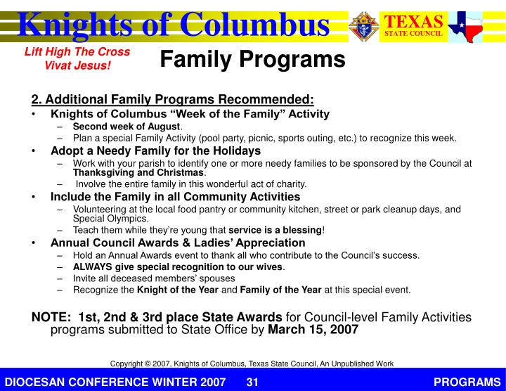 2. Additional Family Programs Recommended:
