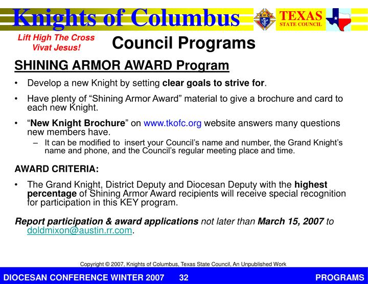 SHINING ARMOR AWARD Program