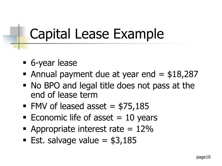 Capital Lease Example